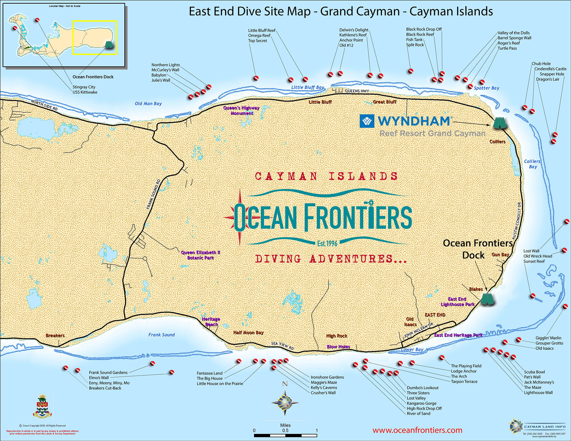 East End Dive Site Map Grand Cayman
